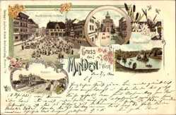 Litho Minden in Ostwestfalen Lippe, Schwanenteich, Marktplatz, Bahnhof, Rathaus