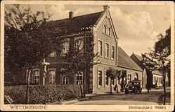 Postcard Wettringen im Münsterland, Straßenpartie mit Blick auf Restaurant Stahl