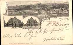 Postcard Bünde im Kreis Herford, Totalansicht der Ortschaft, Amtsgericht, Post