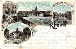 Litho Rheine in Nordrhein Westfalen, Kaiserl. Postamt, Kriegerdenkmal, Markt