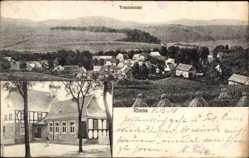 Postcard Rhena Korbach in Hessen, Schule, Totalansicht der Ortschaft, Felder