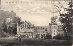Postcard Sayn Bendorf in Rheinland Pfalz, Schloss mit den Burgen vom Schlosspark aus