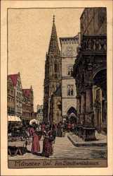 Steindruck Ak Münster in Westfalen, Am Stadtwaisenhaus