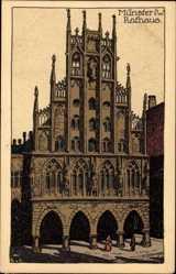Steindruck Ak Münster Westfalen, Ansicht des Rathauses, Giebel