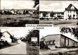 Postcard Meckenbeuren Bodensee, Neue Schule, Turn und Schwimmhalle, Ortseinfahrt