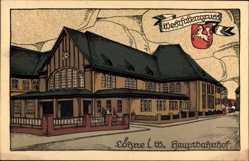 Steindruck Löhne Westfalen, Ansicht vom Hauptbahnhof, Wappen