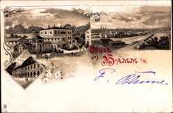 Litho Hamburg Mitte Hamm, Rathaus, Kurhaus, Totalansicht vom Ort