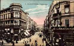 Postcard Saarbrücken im Saarland, Victoriastraße, Straßenverkehr, Geschäfte