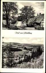 Postcard Küstelberg Medebach, Straßenansicht, Fachwerkhäuser, Orketal