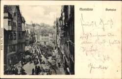 Postcard Montabaur im Westerwaldkreis, Blick auf den gefüllten Marktplatz