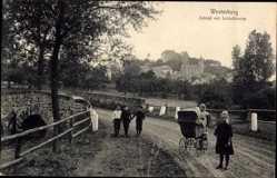 Postcard Westerburg im Westerwaldkreis, Schloss mit Schlosskirche, Kinderwagen