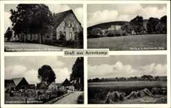 Postcard Arrenkamp Stemwede d, Gastwirtschaft Geldmeyer, Niedersächsische Bauernhäuser