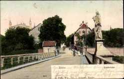 Postcard Rheine in Nordrhein Westfalen, Partie auf der Emsbrücke mit Statue