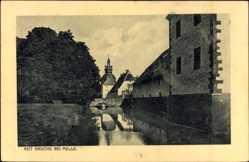 Postcard Melle in Niedersachsen, Gut Bruche, Flusspartie, steinerne Brücke