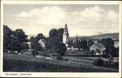 Postcard Wormbach Schmallenberg Sauerland, Dorfstraße mit Kirche