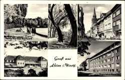 Postcard Ahlen im westfälischen Münsterland, Bahnhof, Franziskus Hospital, Oststraße