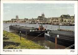 Postcard Magdeburg in Sachsen Anhalt, Partie an der Elbe, Lastkähne, Dom