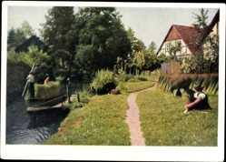 Ak Leipe Lübbenau im Spreewald, Spreewaldkahn, Kanal, Fachwerkhaus