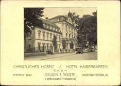 Postcard Siegen Nordrhein Westfalen,Christliches Hospiz,Hotel Kaisergarten,Kampenstr.