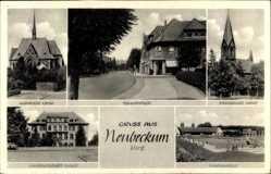 Postcard Neubeckum Beckum im Kreis Warendorf, Hauptstraße, Evang. Kirche, Schule