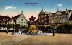 Postcard Landau in der Pfalz, Blick auf den Paradeplatz, Reiterstandbild