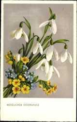 Postcard Glückwunsch Ostern, Glockenblumen, Vergissmeinnicht