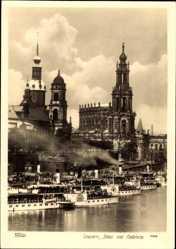 Ak Dresden, Schloss und Hofkirche, Walter Hahn 10699, Elbdampfer Laubegast