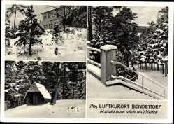 Postcard Bendestorf Niedersachsen, Luftkurort im Winter, Hotel und Pension Kurth