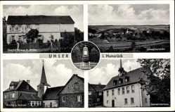 Postcard Uhler Hunsrück Rheinland Pfalz, Geschäftshaus Müller, Kirche, Schule,Gemeinde