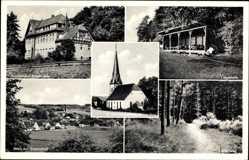 Postcard Achelriede Bissendorf in Niedersachsen, Kirche, Liegehalle,Waldweg,Kinderheim