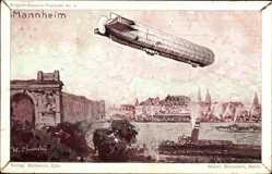 Künstler Ak Mannheim, Zeppelin über der Stadt, Graf von Zeppelin