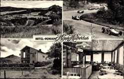 Ak Adenau Rheinland Pfalz, Hotel Haus Hubertus, Rennautos, Nürburgring