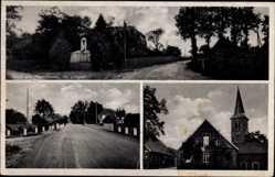 Postcard Plantlünne Lünne, Kolonialwaren Heinrich Rickling, Kirche