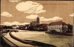 Postcard Rheine in Nordrhein Westfalen, Emswehr, Pfarrkirche, Fürstliche Mühle