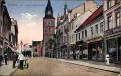 Postcard Hamm in Westfalen, Blick in die Große Weserstraße, Geschäfte, Kirche