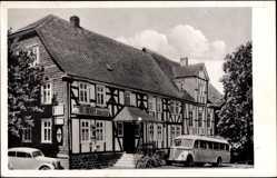 Postcard Burbach Kreis Siegen, Hotel Dilthey, Robert Koch, Reisebus, Fachwerkhaus