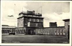 Postcard Chemnitz Sachsen, Blick auf den Flughafen, Flugzeug, Auto