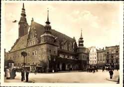 Ak Brzeg Brieg Schlesien, Marktplatz, Rathaus, Ratusz