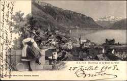 Ak Montreux Kt. Waadt Schweiz, Village et la Dent du Midi, Schweizer Tracht