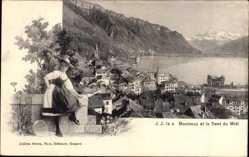 Ak Montreux Kt. Waadt Schweiz, Dent du Midi, Panorama, Ort, Schweizer Tracht