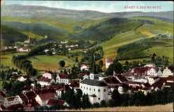 Ak Duszniki Zdrój Bad Reinerz Schlesien, Panorama der Stadt, Kirche