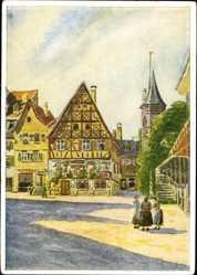Künstler Ak Hellmann, J., Bad Kissingen Unterfranken Bayern, Marktplatz