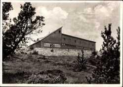 Postcard Baiersbronn im Kreis Freudenstadt, Schliffkopf Gedächtnishaus, Schneelaufbund