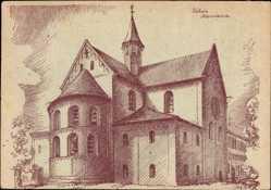 Künstler Ak Kloster Lehnin in Brandenburg, Blick auf die Klosterkirche
