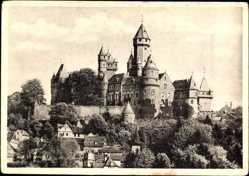 Postcard Braunfels im Lahn Dill Kreis, Blick zur Burg über dem Ort, Häuser
