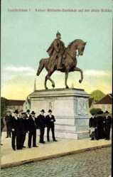 Postcard Saarbrücken im Saarland, Kaiser Wilhelm Denkmal auf d. alten Brücke