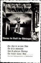 Wappen Ak Worms in Rheinland Pfalz, Stadt der Nibelungen, Siegfried