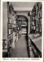 Ak Weimar in Thüringen, Goethe Nationalmuseum, Bibliothek, Bücherregale