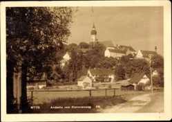 Postcard Andechs Oberbayern, Blick auf den Ort vom Stationenweg aus, Kirchturm