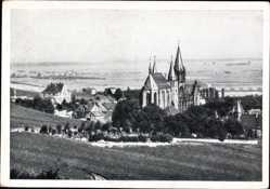 Postcard Oppenheim am Oberrhein, Blick auf Kirche St. Katharinen, Felder